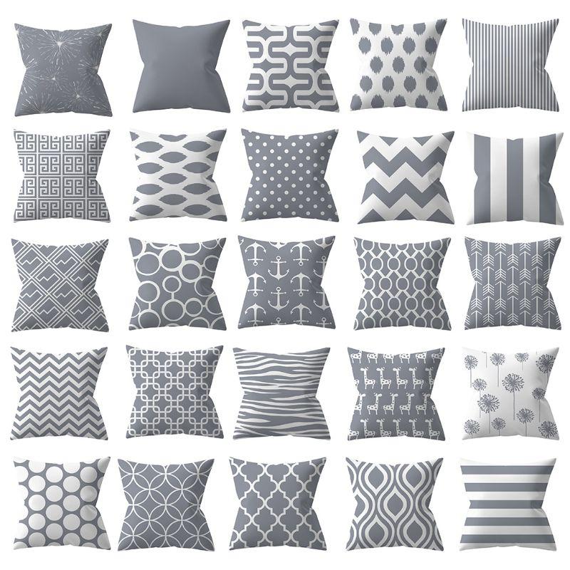 Geometric Floral Animal Printed Decorative Pillow Case Modern Peach Velvet Gray White Square For Bedroom