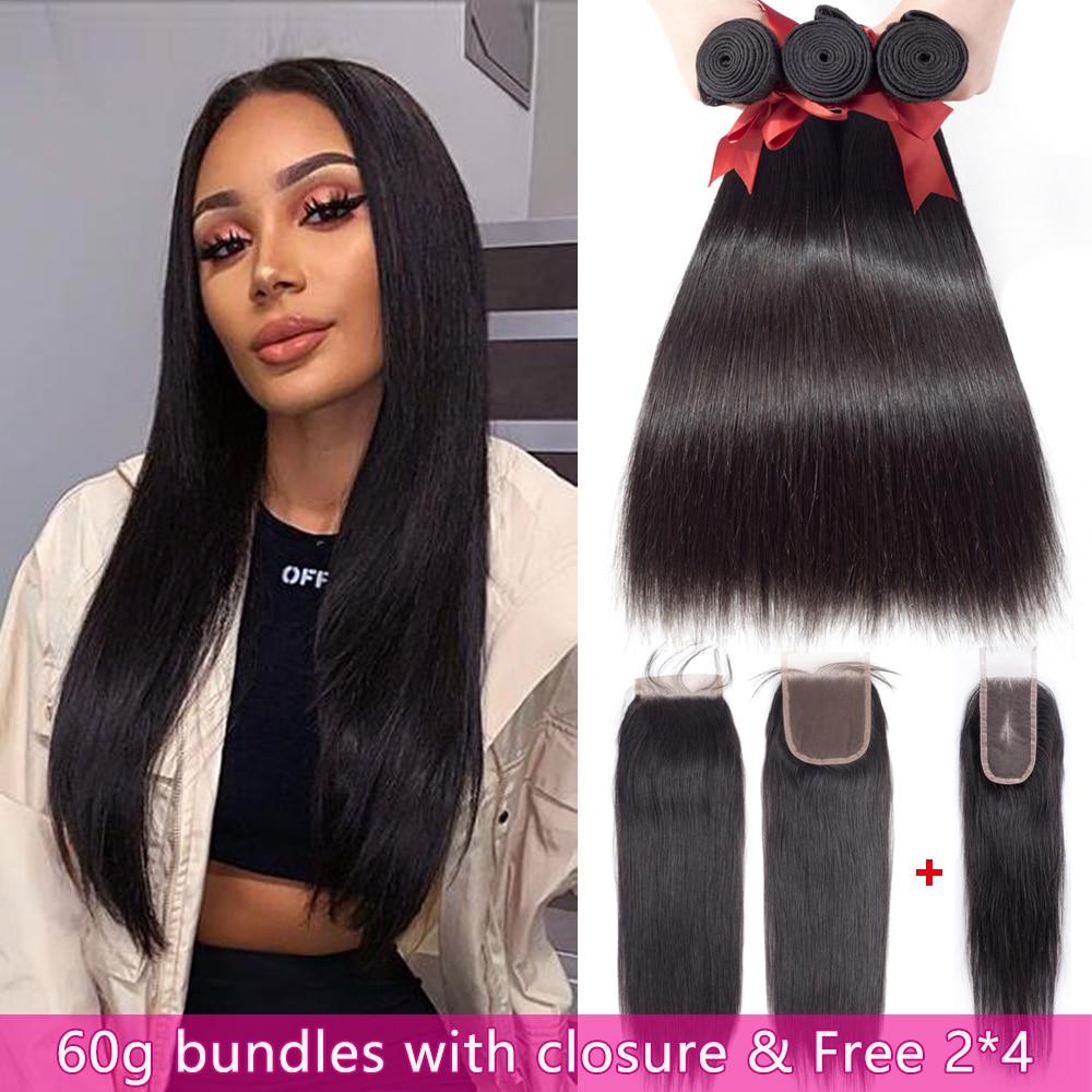 BEAUDIVA Hair 60g Peruvian Hair Bundles with Closure Straight Hair Bundles with Closure Hair Weave get Free 2*4 1