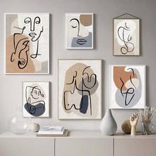 Cartaz nórdico abstrato linha cor arte e impressão pintura a óleo da parede sala de estar decoração casa pintura da parede