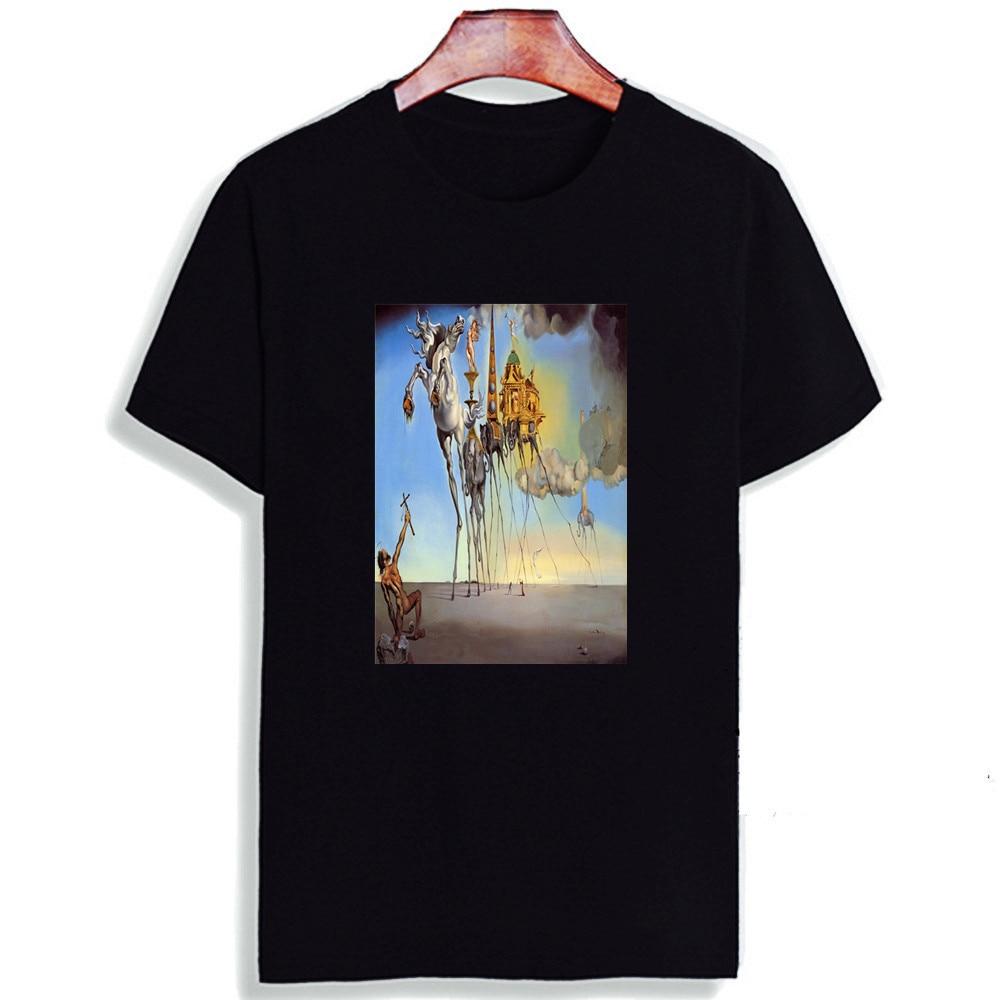 Женская забавная футболка Skipoem Salvador Dali Surreal Art, хлопковая Футболка с круглым вырезом размера плюс, брендовая футболка с коротким рукавом