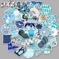 50 pcs/paquet autocollants de dessin animé bleu frais Pvc vinyle étanche autocollants Skateboard bagages téléphone ordinateur portable vélo mignon jouet autocollants