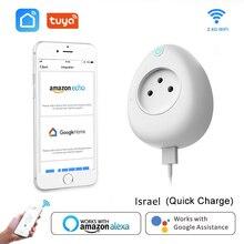 ישראל חכם USB שקע 15A עם כוח ניטור WiFi תקע קול שלט רחוק לעבוד עם Alexa Google בית Tuya חכם חיים App
