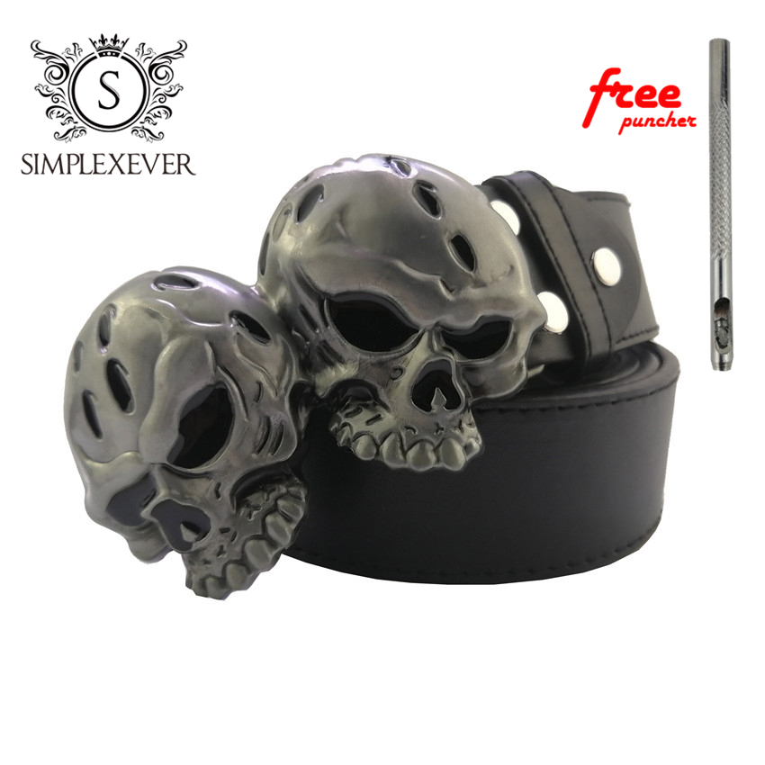 Gothic Skull Head Western Metal Belt Buckle Strap Belt Roller Pin Buckle For Men Leather Belt