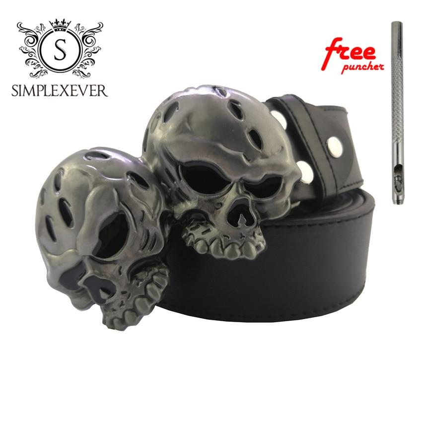 Gothic Skull Head Western Metal Belt Buckle Strap Belt Roller Pin Buckle For Men Leather Belt