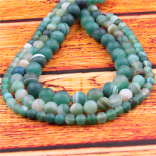 Green Stripes Natural Stone Bead Round Loose Spaced Beads 15 Inch Strand 6/8/10/12mm For Jewelry Making DIY Bracelet