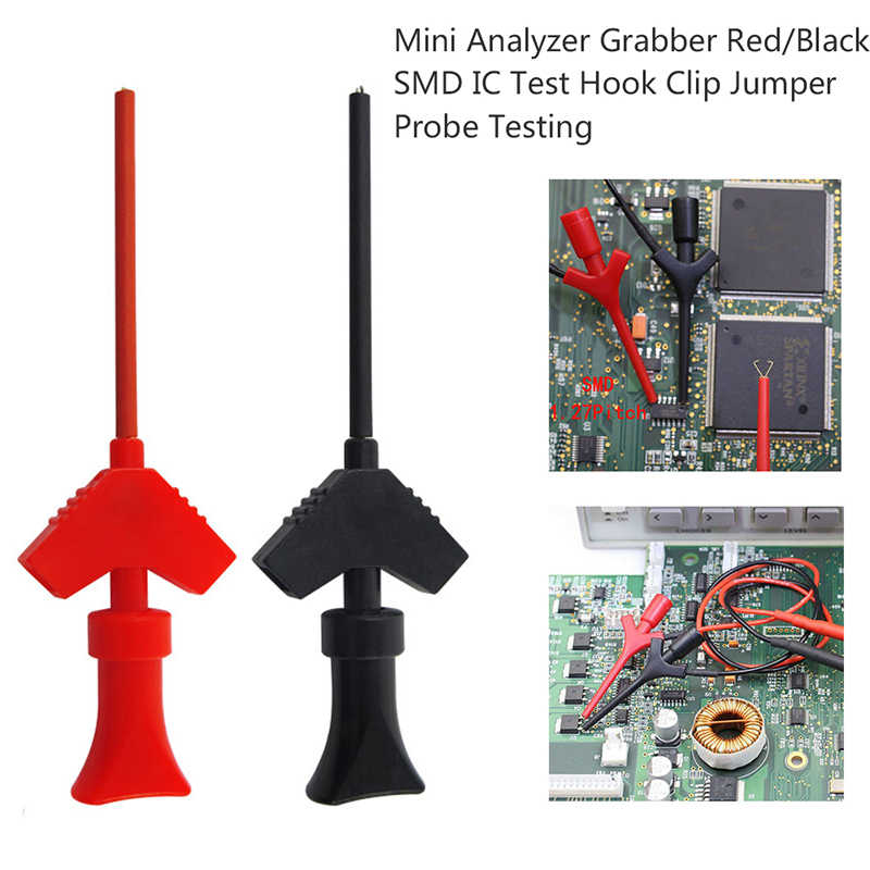 Urijk 3 Pasang Mini Analyzer Grabber Tes Probe SMD Test Hook Klip Jumper Probe Logic Analyzer Pengujian Aksesoris Merah/ hitam
