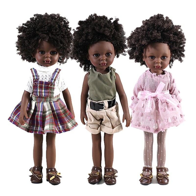 35cm Black African American Reborn Dolls Full Silicone Vinyl Gift Baby Black Dolls Bjd African Doll Girls Dress Up Children Toys