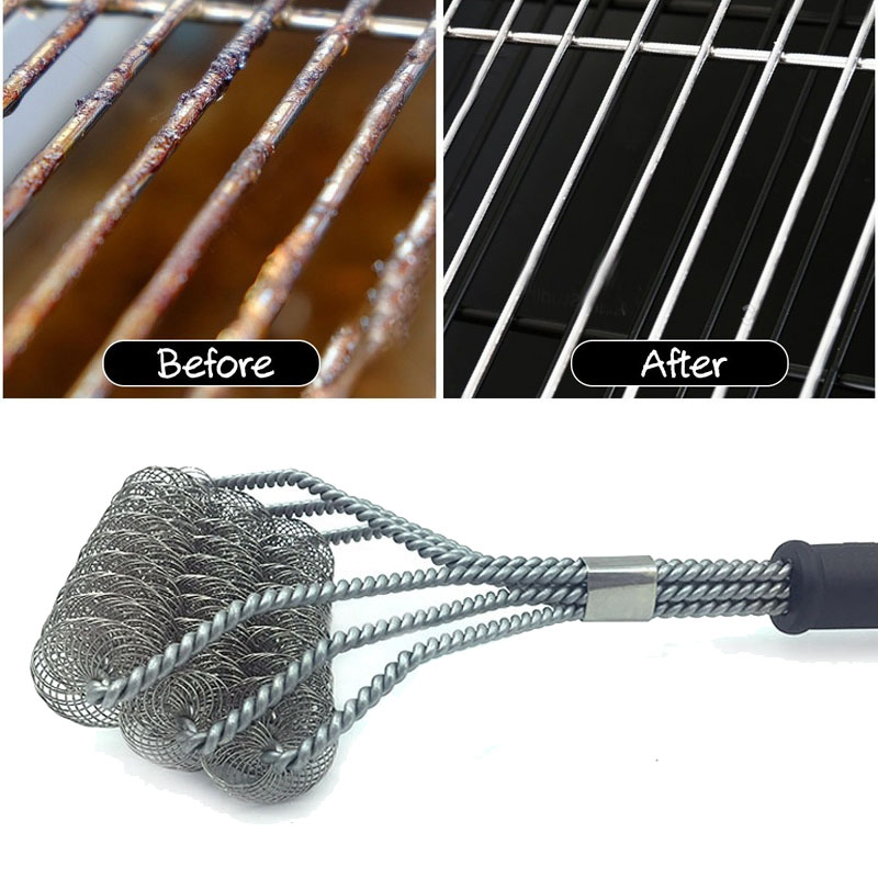 Barbecue Grill Brush Stainless Steel Wire Bristles BBQ Cleaning Outdoor Cleaner Tools Accessories