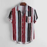 Hawaiian Shirt Vintage Ethnic Print Turndown Collar Mens Beach Shirt Short Sleeve Africa Loose VogueStriped Men Shirt Pop Nice
