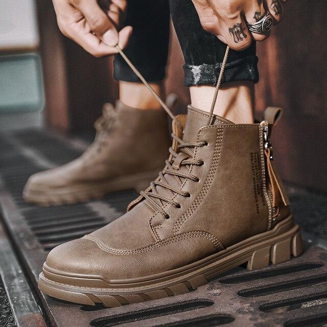 Купить модные высококачественные осенние мужские ботинки из натуральной картинки цена