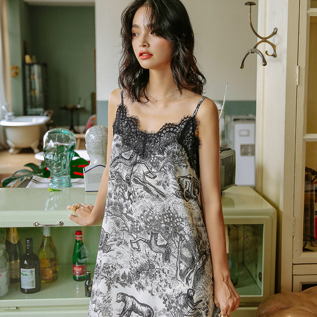 Women's Autumn Korean Pyjama Animal Secret Printing Nightdress Sleeveless Night Dresses for Party Plus Size Women Nightwear