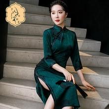 New Chinese Wind Green Lady Retro Collar Cheongsam Dinner Will Be Elegant Dress Qipao Dress Qipao Wedding