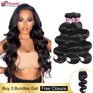 Hair-Weave Bundles Closure Human-Hair Body-Wave Malaysian with Non-Remy