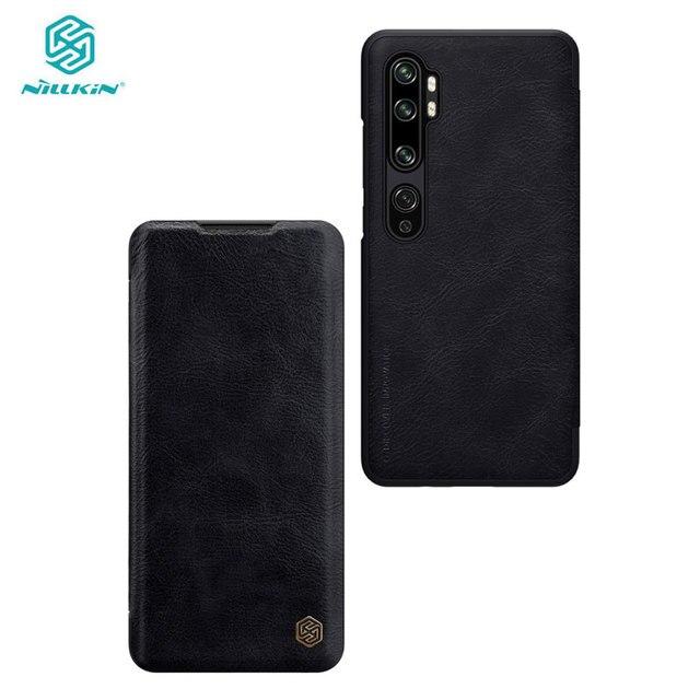 Caes for Xiaomi Mi Note 10/10 Pro/CC9 Pro Nillkin Qin Series PU Leather Flip Cover For Xiaomi Mi Note 10 Case