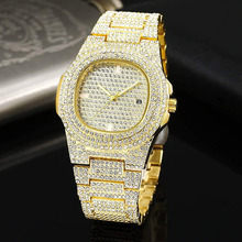 Gold HIP HOP Watch Men Diamond Watches Top Brand Luxury Iced Out Male Quartz Calender Big Dial Gift for