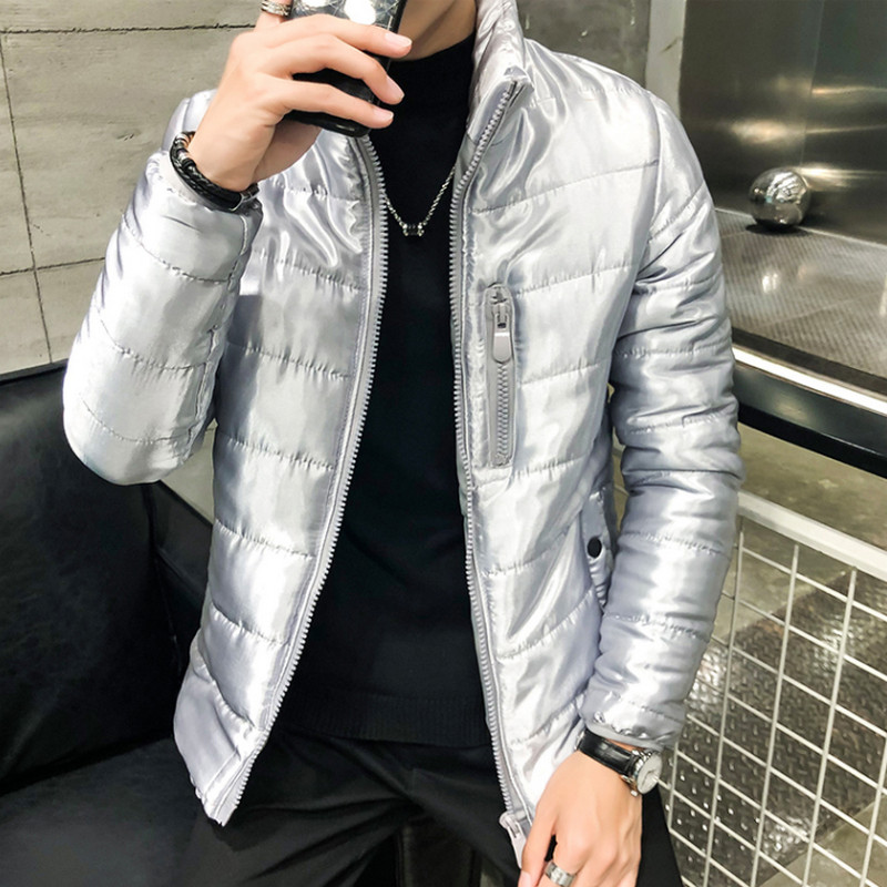 New Shiny Suit Winter Jacket Men 2019 Fashion Stand Collar Male Parka Shine Jacket Mens Solid Thick Jackets And Coats Man Parkas