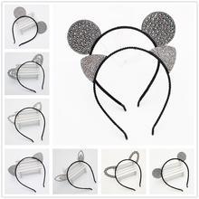 Девушки мультфильм ободок с ушами мыши Корона ободки с кошачьими ушками дети Кристалл Алмаз резинки для волос кролик медведь уха аксессуары для волос из кружева