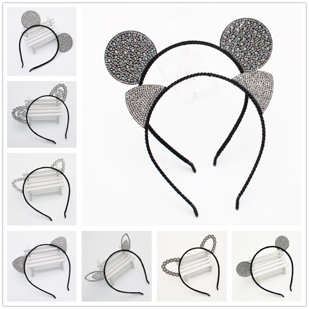 Ободок с ушами мыши из мультфильма для девочек, ободки с кошачьими ушками и короной, ободки для волос с кристаллами и бриллиантами, аксессуары для волос из кружева с кроличьими медведями