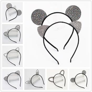 Girls Cartoon Mouse Hairband Crown Cat Ears Headbands Kids Crystal Diamond Hair Bands Rabbit Bear Ear Lace Accessories - discount item  27% OFF Headwear