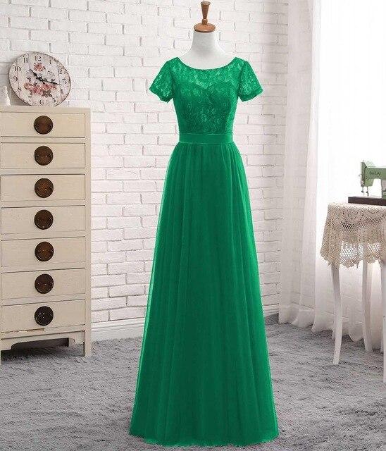 Solovedress Elegant Short Sleeves Cheap A Line Pink Tulle Bridesmaid Dress 2019 Lace With Sash Vestido De Festa Longo PGE028