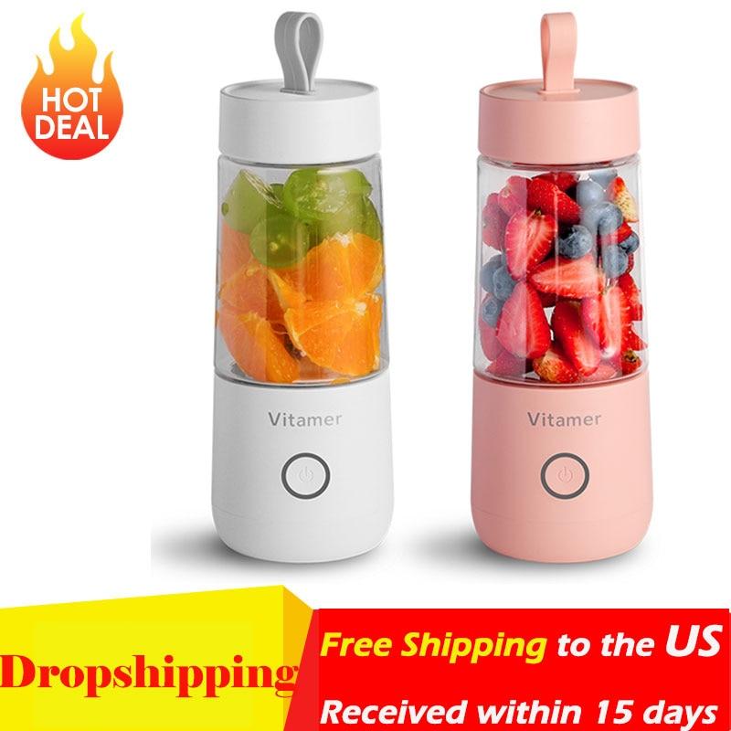 350ml Portable Juicer Electric USB Rechargeable Smoothie Blender Machine Mixer Mini Juice Maker Fast Food Processor Mobile Mixer
