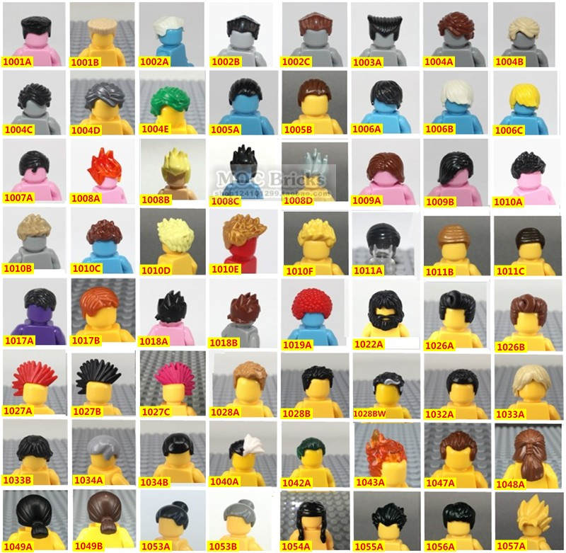 City Figures Head Decoration Parts Boys Men's Hair Flat Short Hair Split Mohicans Bangs Dreadlocks Hair MOC Blocks Bricks Toys