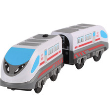 Electric Train Toy for Children Remote Control Electric Train Toy Magnetic Slot Compatible Wooden Track Car Toy Kids Gift(China)