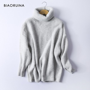 Image 3 - BIAORUINA Women Oversize Basic Knitted Turtleneck Sweater Female Solid Turtleneck Collar Pullovers Warm 2020 New Arrival