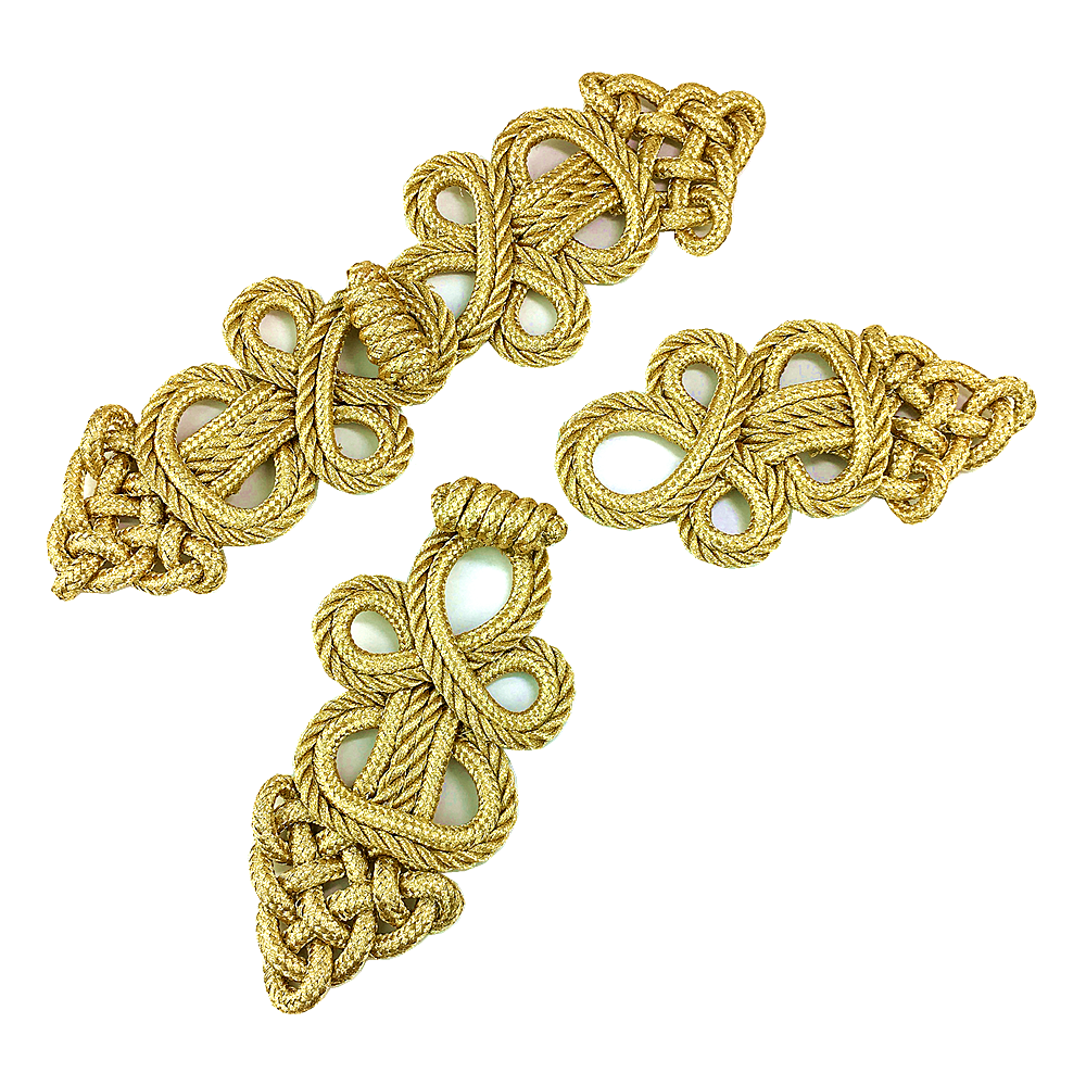 Image 3 - 6set Gold Baroque Frog Fastener Cord Embroidery Closure Chinese Knot Button Retro Applique For Clothing DIY Accessories AC1507Patches   -