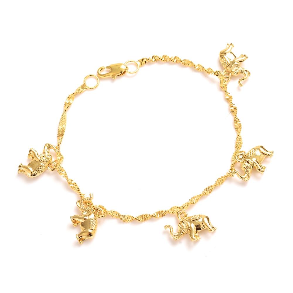 8.26inch cute girls Bangle Women Gold elephant hang Bracelets Jewelry Hand Chain Arab Items kids jewelry best gift