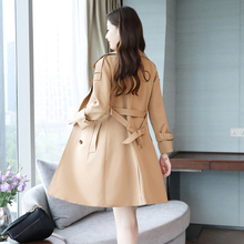 Large Size Double Breasted Spring Autum Long Trench Coat Slim Solid Fashion Women Turn-down Collar Casacos Compridos Femininos