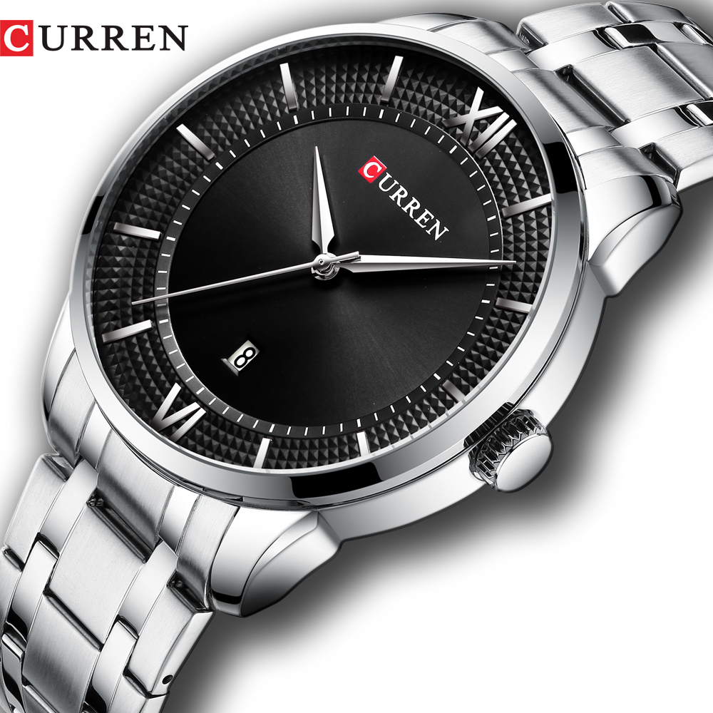 Top Brand CURREN Men Stainless Steel Business Watches With Auto Date Classic Quartz Wristwatch For Men Stainless Steel Clock