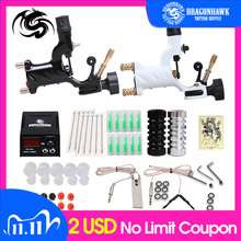 Beginner Tattoo Starter Kits 2 Rotary Tattoo Machines Guns  Sets Power Supply Needles Top Tattoo Free Shipping