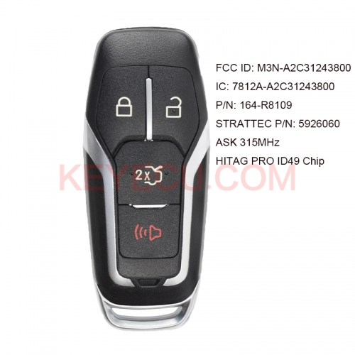 KEYECU Smart Key 4 Button ASK 315MHz NCF2951F HITAG PRO ID49 Chip for Ford Fusion Edge Explorer 2015-2017 FCC ID: M3N-A2C3124380