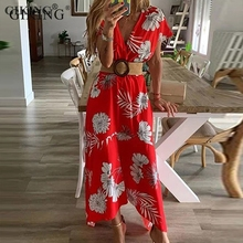 GIKING Boho Dress Women 2019 Summer Short Sleeve Floral Print Long Vintage Casual Beach Midi Dresses Red Yellow Vestidos
