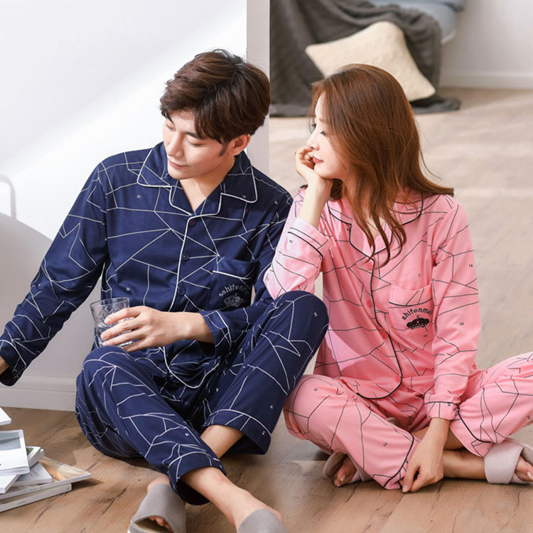Korean-style Four-dimensional Lines Pajamas WOMEN'S Cardigan Couples Home Wear Women's Long-Sleeve Trousers Men Plus-sized Set C