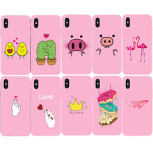Fashion Picture Pink Soft Case for Apple iPhone 7 8 Plus X Xs Max XR 5s 5 SE 6 6s Plus Cartoon Animal pattern Phone Cover Coque(China)