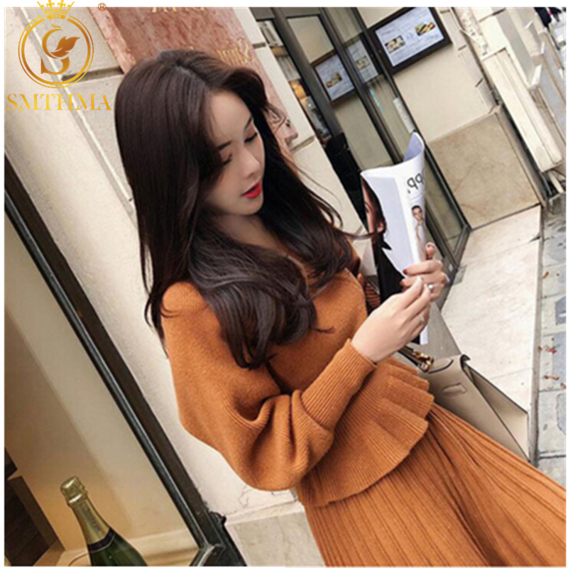 SMTHMA 2019 New Arrival Winter Runway Ruffled Sexy V-neck Women Sweater Two Piece Set +Elastic Waist Pleated Skirt Women Set