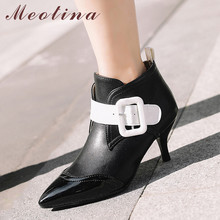 купить Meotina Autumn Ankle Boots Women Boots PU Leather Thin High Heel Short Boots Buckle Pointed Toe Shoes Lady Winter Big Size 34-43 дешево