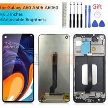 サムスン A60 Lcd ディスプレイ a606 a6060 タッチスクリーンデジタイザアセンブリ + フレーム galaxy a60 ディスプレイの交換修理部品