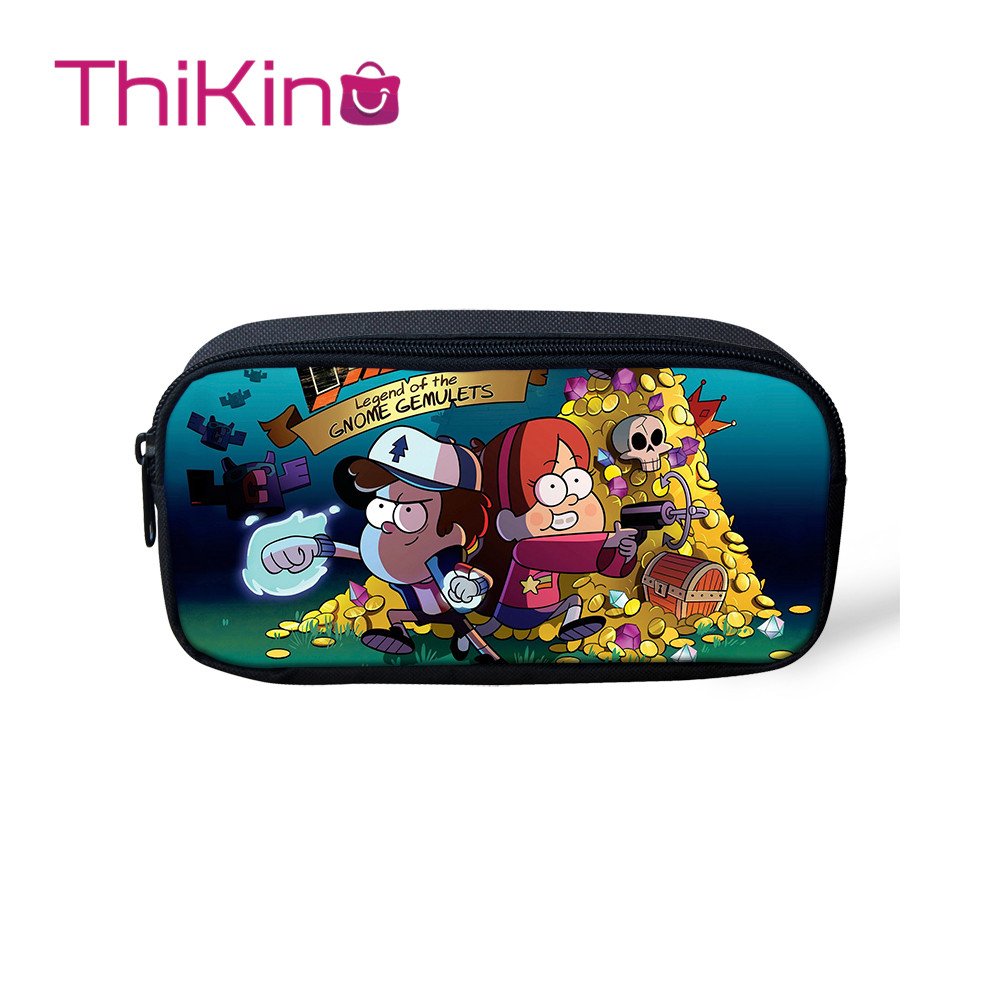 Thikin Gravity Falls Casual Pencil Bags Pen Bag For Girls Pen Case Student Makeup Storage HandBags Pen Purses For Kids