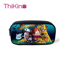 Thikin Gravity Falls Casual Pencil Bags Pen Bag for Girls Pen Case Student Makeup Storage HandBags Pen Purses for Kids gravity falls reel scroll style pencil stationary storage wallet bag boys girls gift