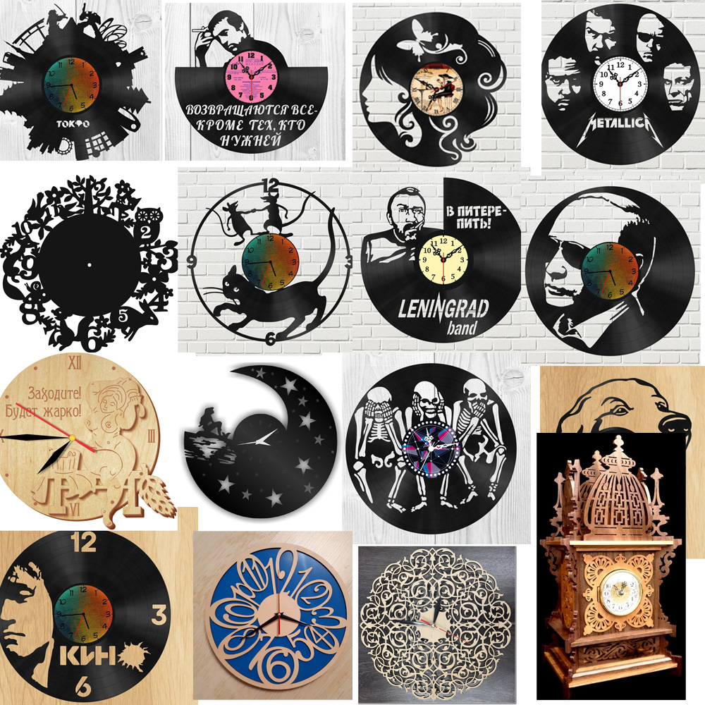 137 Pieces Pieces Of Creative Clock Design Vector Drawing Files For CNC Laser Cutting Files Collection