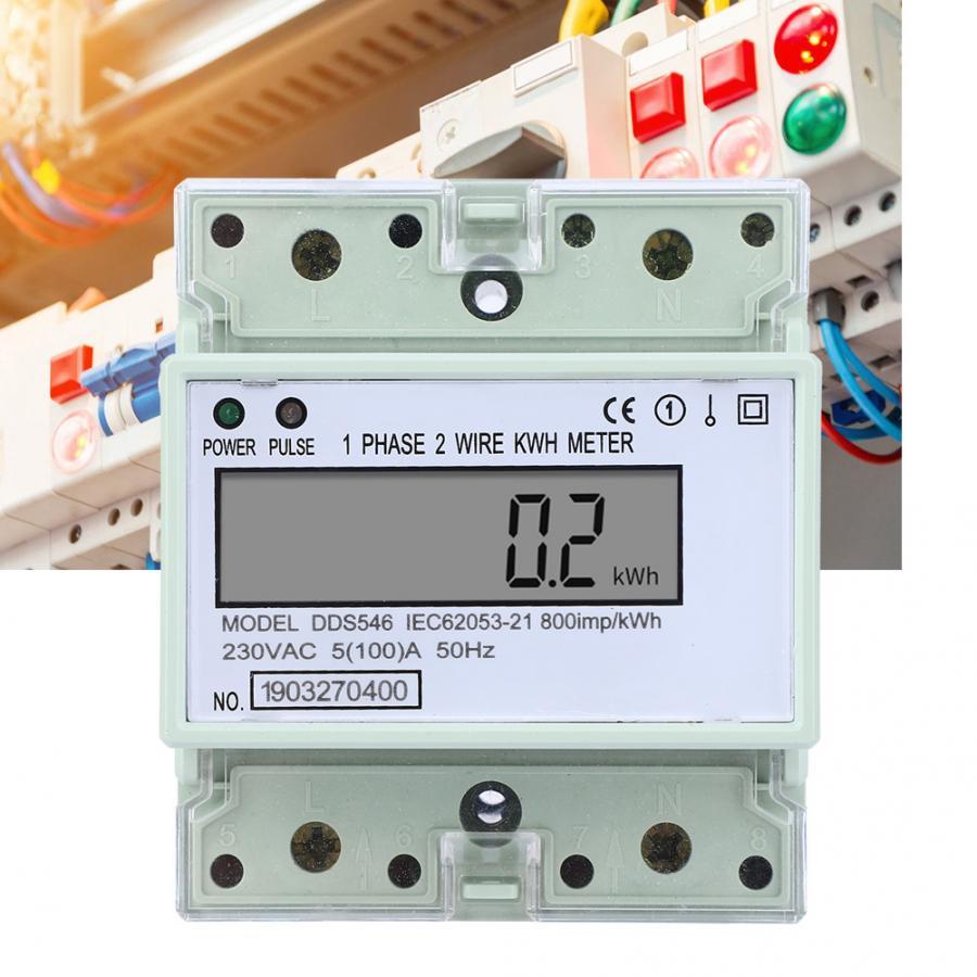 Однофазный измеритель электроэнергии 5-100 А, 230 В переменного тока, измеритель электроэнергии на DIN-рейке, цифровой ЖК-измеритель электроэнер...