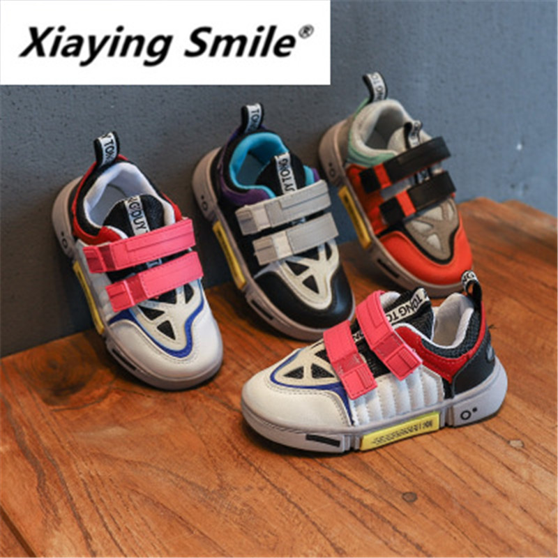 Xiaying Smile Children Sneakers 2019 New Style Boys Girls Retro-fashionable Style Board Shoes Double-row Magic Sticker Student