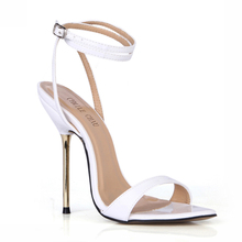 цена на Summer New 11cm High Heeled Sandals Fashion Patent Stiletto Thin heel Ankle Strap Open Toe Sexy Party Dress Women Shoes 5-i11