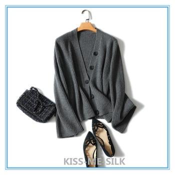KMS Pure cashmere women sweater cardigan V-neck loose large size short shawl coat lady