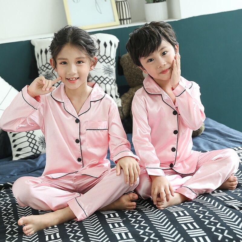 Christmas Pajamas Baby Autumn Winter Long Sleeve Silk Sleepwear Set Solid Color Comfort Girl Boy Nightwear Clothing