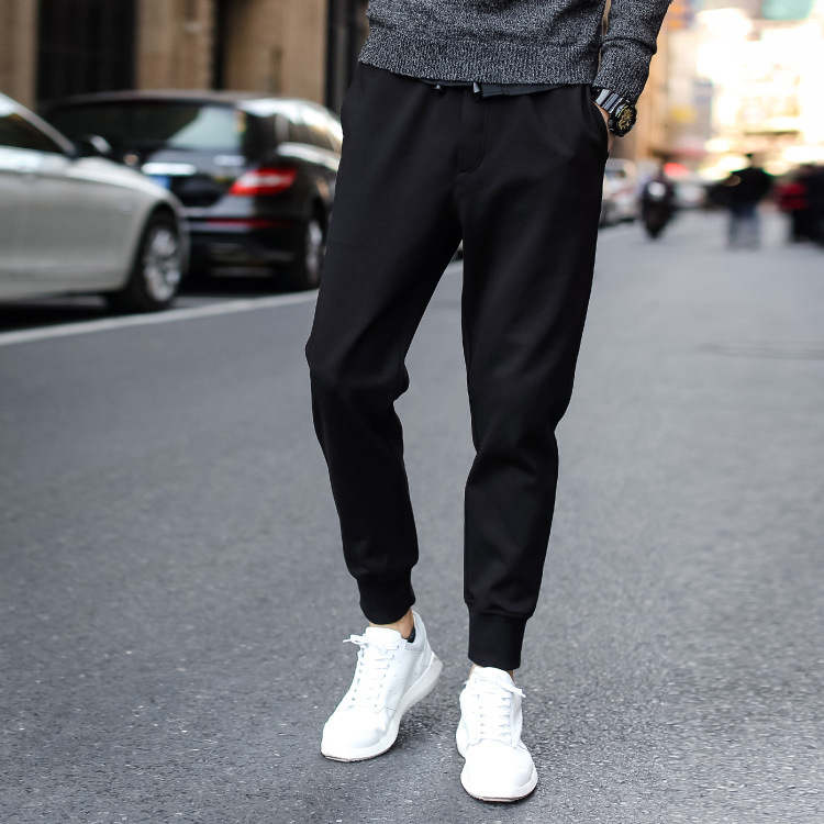 2019 Spring And Summer Black And White With Pattern Casual Pants Men's Korean-style Youth Slim Fit Athletic Pants Cotton Ankle B
