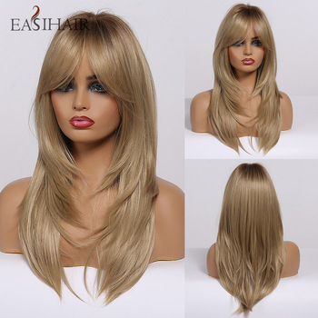 EASIHAIR Brown to Blonde Ombre Women Wig with Bangs Medium Length Synthetic Wigs Layered Natural Hair Cosplay Heat Resistant - discount item  50% OFF Synthetic Hair